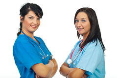 Lächeln mit zwei Arztfrauen Lizenzfreies Stockfoto