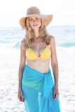 Lächeln recht blond im Bikini, der Kamera betrachtet Lizenzfreies Stockfoto