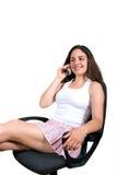 Lächeln am Telefon Stockfotos