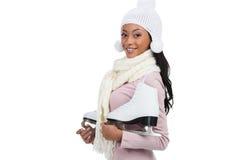 Lächeln und Kamera über weißem Hintergrund betrachtend Stockbild
