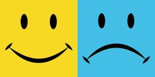 Lächeln und Sorge, die Gefühlfreude und -enttäuschung, Vektorikonen, Gefühle des Glückes und Traurigkeit Stockfotos