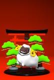 Lächeln-weiße Schafe und symbolischer Eingang auf rotem Text-Raum Stockbilder