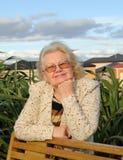 Lächelnde ältere Frau im Freien Stockbilder