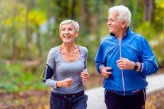 Lächelnde ältere Paare, die im Park rütteln stockbilder
