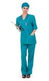 Lächelnde Arztfrau mit Stethoskop Lizenzfreies Stockfoto