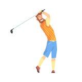 Lächelnde bärtige Karikatur spielen palyer Charakter Golf, der eine Schwingenvektor Illustration nimmt Stockfotos
