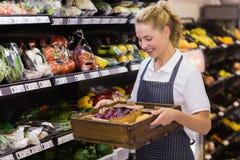 Lächelnde blonde Arbeitskraft, die einen Kasten mit Gemüse hält Stockbilder
