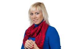 Lächelnde blonde Frau im Blau Lizenzfreies Stockbild