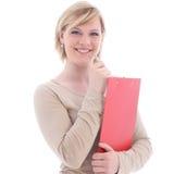 Lächelnde blonde Frau mit rotem Faltblatt Stockbilder