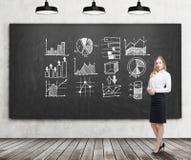 Lächelnde blonde Geschäftsfrau mit Diagrammen auf Tafel Lizenzfreie Stockfotografie