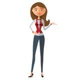 Lächelnde blonde Geschäftsfraugeschenke etwas Darstellende und lächelnde junge Frau Vektor Stockfotos