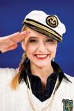 Lächelnde blonde junge Frau Stockfotos
