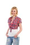 Lächelnde blonde Studentin Lizenzfreies Stockfoto