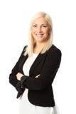 Lächelnde Blondine lokalisierte Geschäftsfrau Stockfotografie