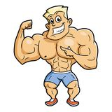 Lächelnde Bodybuilderaufstellung Stockbild