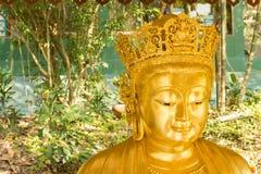 Lächelnde chinesische goldene Buddha-Statue im Hintergrund der Natur Lizenzfreies Stockfoto