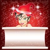 Lächelnde Elfe im Rot mit Weißbuch Stockfotos