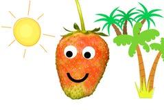 Lächelnde Erdbeere Stockfoto