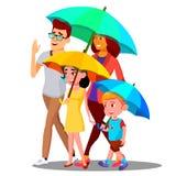 Lächelnde Familie auf einem Weg unter Regenschirmen im Regen-Vektor Getrennte Abbildung stock abbildung