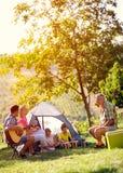 Lächelnde Familie, die Picknick genießt stockfotos
