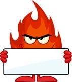 Lächelnde Feuer-Zeichentrickfilm-Figur, die eine leere Fahne hält Stockfotos