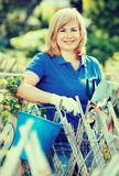 Lächelnde Frau, die Gartenbauwerkzeuge im Garten auf sonnigem DA hält Stockbilder