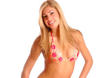 Lächelnde Frau im Bikini Stockfoto