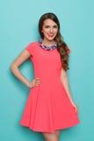 Lächelnde Frau im rosa Kleid und in der bunten umsponnenen Halskette lizenzfreies stockbild
