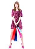 Lächelnde Frau mit dem Kauf Stockfotografie
