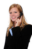 Lächelnde Frau mit Kopfhörer lizenzfreies stockbild