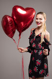 Lächelnde Frau, Valentinsgruß ` s Tag Lizenzfreie Stockbilder