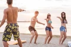 Lächelnde Freunde in der Sonnenbrille mit Brandungen auf Strand Lizenzfreie Stockfotografie