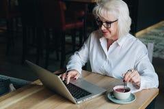 Lächelnde Geschäftsfrau in den Gläsern, die bei Tisch, arbeitend auf La sitzen Stockfotos