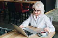 Lächelnde Geschäftsfrau in den Gläsern, die bei Tisch, arbeitend auf La sitzen Lizenzfreies Stockfoto