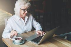 Lächelnde Geschäftsfrau in den Gläsern, die bei Tisch, arbeitend auf La sitzen Lizenzfreie Stockfotos