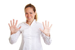 Lächelnde Geschäftsfrau, die 10 zeigt Lizenzfreie Stockfotografie
