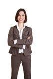 Lächelnde Geschäftsfrau mit den Armen Lizenzfreies Stockbild