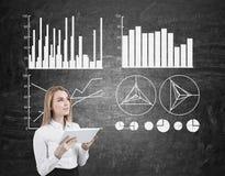 Lächelnde Geschäftsfrau und vier Diagramme auf Tafel Stockbilder