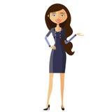 Lächelnde Geschäftsfraugeschenke etwas Darstellende und lächelnde junge Frau Vektor Stockfoto