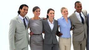 Lächelnde Geschäftsleute Gehen Stockfoto