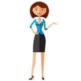 Lächelnde Geschäftsmädchengeschenke etwas Darstellende und lächelnde junge Frau Vektor Stockbilder