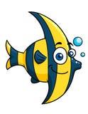 Lächelnde gestreifte tropische Fische der Karikatur Stockfoto