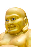 Lächelnde goldene Buddha-Statue in Thailand lokalisierte auf einem weißen BAC Stockfotos
