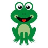 Lächelnde grüner Frosch-Karikatur lizenzfreie stockfotografie