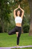 Lächelnde hübsche Frau, die Yogaübungen tut Lizenzfreies Stockfoto