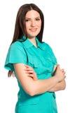 Lächelnde hübsche Krankenschwester in der Uniform stockbild