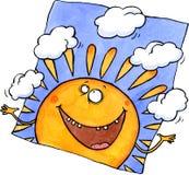 Lächelnde jonglierende Wolken der Sonne Vektor Abbildung