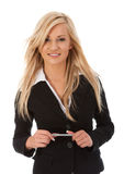 Lächelnde junge Frau stockfoto