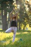 Lächelnde junge Frau, die auf einem Bein, Arme über dem Kopf steht Lizenzfreies Stockfoto