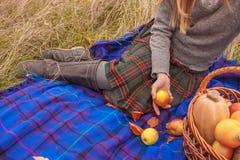 Lächelnde junge Frau, die Zeit auf Picknick hat Stockfotografie